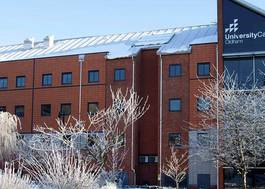Institution featured at 70 percent quality o10 main building in the snow